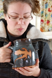 Huge Slate Blue Mug with Rust Dragon