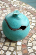 Round Sugar Bowl / Honey Jar in Turquoise