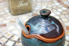 Round Sugar Bowl / Honey Jar in Slate Blue