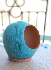 Salt Pig or Salt Cellar In Turquoise with Inside Unglazed