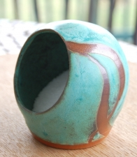 Salt Pig or Salt Cellar In Turquoise and Rust
