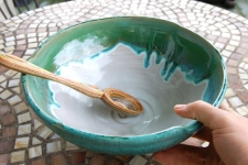 Large Serving Bowl or Mixing Bowl in Turquoise and White