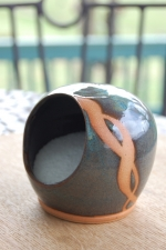 Salt Pig or Salt Cellar In Slate Blue with Rust Design