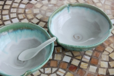 Soup Bowl in Turquoise and White