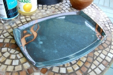 Large Serving Platter in Slate Blue and Rust Chain