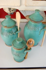Kitchen Canister Set of Three in Turquoise