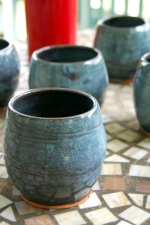 Stemless Wine Glass or Drinking Cup in Slate Blue