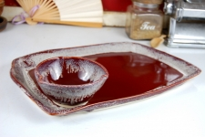 Platter and Dipping Bowl set in Red Agate