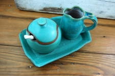 Turquoise Creamer And Sugar Set with Tray