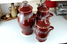Kitchen Canister Set of Three in Red Agate