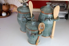 Kitchen Canister Set of Three in Slate Blue
