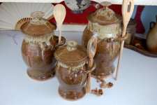 Kitchen Canister Set of Three in Brownstone