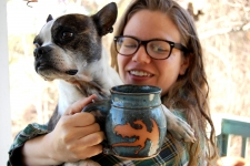 Slate Blue Mug with Rust Dragon