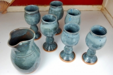 Set of Six Wine Goblets and Carafe in Slate Blue