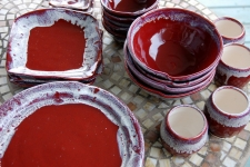 Eclectic Dinnerware Set for Four in Red Agate