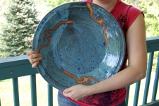 Huge Wheel Thrown Platter in Slate Blue and Rust Waves