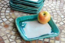Square Lunch Plates in Turquoise and White
