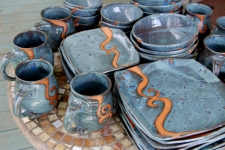 Slate Blue with Rust Waves Dinnerware Set for Eight
