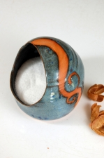 Salt Pig or Salt Cellar In Slate Blue with Rust Waves
