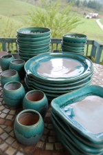 Eclectic Dinnerware Set for Eight in Turquoise and White