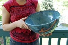 Massive Serving Bowl in Slate Blue and Rust Waves