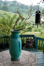 Large Turquoise Vase with Blue Glass