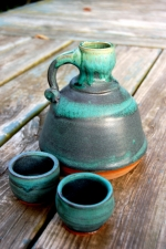 Turquoise Whiskey Decanter and Shot Glass Set