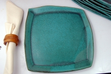 Square Dinner Plate in Turquoise