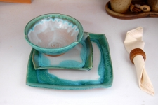 Turquoise and White Dinnerware Place Setting