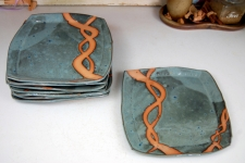 Square Dinner Plate in Slate Blue with Rust Chain