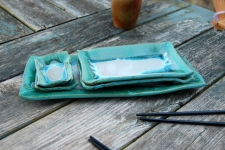 5 Piece Sushi Plate Set in Turquoise and White