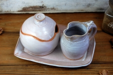 Shale Creamer And Sugar Bowl Set with Tray