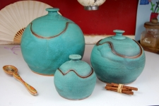 Set of Three Closed Form Kitchen Canisters in Turquoise