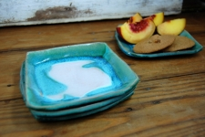 Bread Plate or Dessert Plate in Turquoise and White