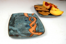 Bread Plate or Dessert Plate in Slate Blue with Rust Chain