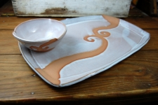 Platter and Dipping Bowl Set in Shale with Rust Waves