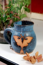 Luna Moth Mug in Slate Blue
