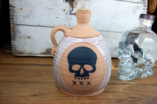 Corked Whiskey Jug with Skull