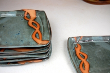 Square Lunch Plate in Slate Blue with Rust Chain